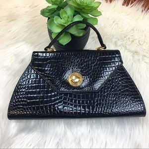 Vintage Black Faux Alligator Boxy Handbag